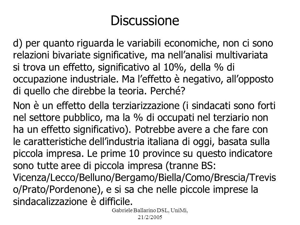 Gabriele Ballarino DSL, UniMi, 21/2/2005 Discussione d) per quanto riguarda le variabili economiche, non ci sono relazioni bivariate significative, ma