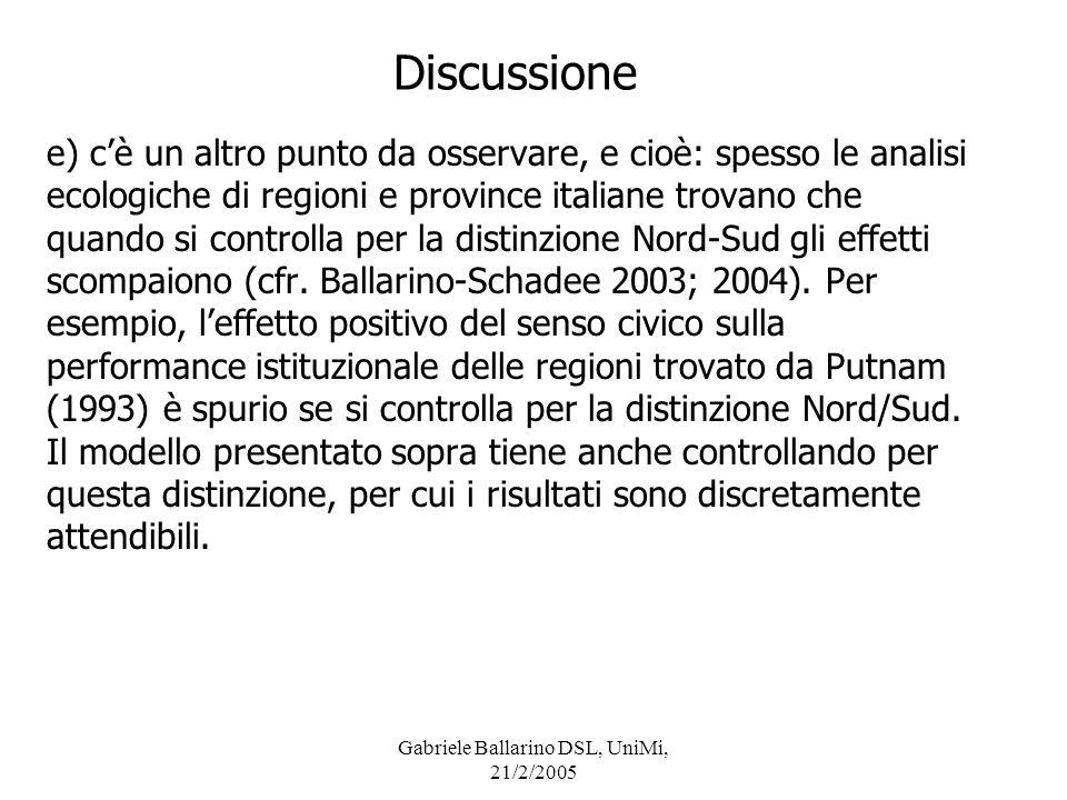 Gabriele Ballarino DSL, UniMi, 21/2/2005 Discussione e) cè un altro punto da osservare, e cioè: spesso le analisi ecologiche di regioni e province ita