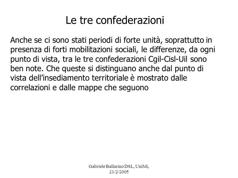 Gabriele Ballarino DSL, UniMi, 21/2/2005 Le tre confederazioni Anche se ci sono stati periodi di forte unità, soprattutto in presenza di forti mobilit