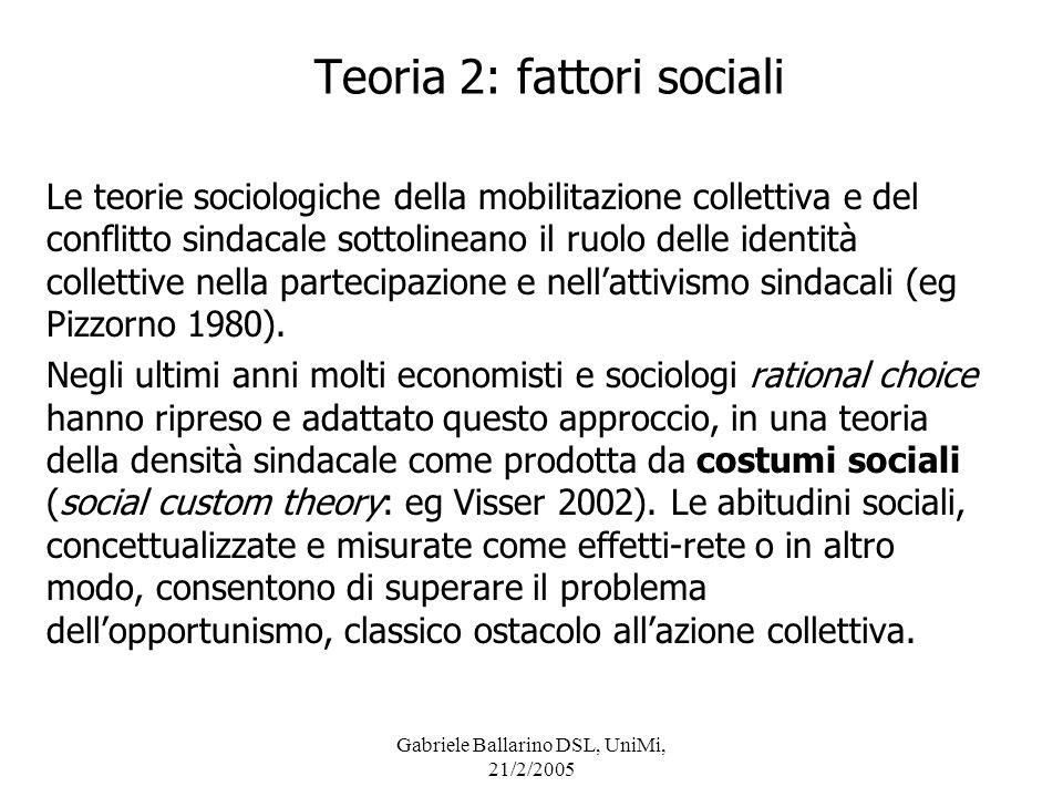 Gabriele Ballarino DSL, UniMi, 21/2/2005 Le teorie social custom tipicamente si verificano con dati individuali, ma le si può approssimare con dati aggregati: largomento può essere che la densità sindacale è più elevata dove è più elevata la coesione sociale.