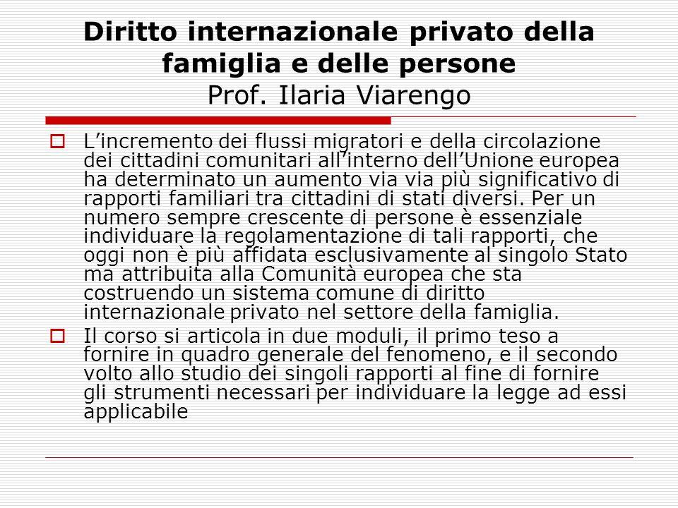 Diritto internazionale privato della famiglia e delle persone Prof. Ilaria Viarengo Lincremento dei flussi migratori e della circolazione dei cittadin