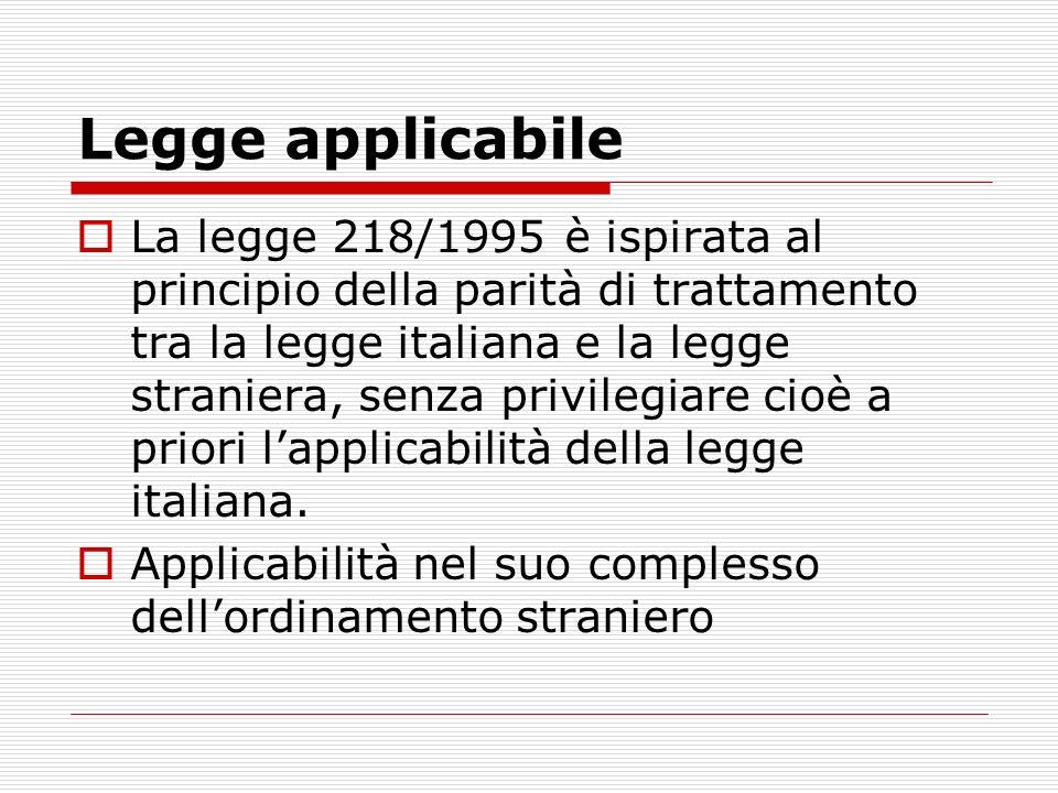 Legge applicabile La legge 218/1995 è ispirata al principio della parità di trattamento tra la legge italiana e la legge straniera, senza privilegiare