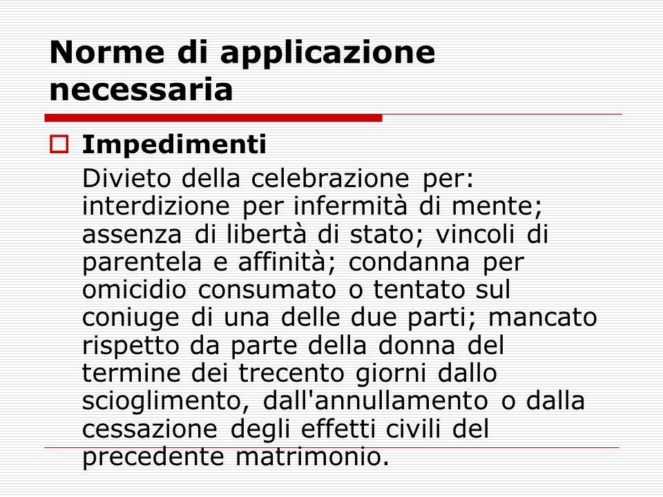 Norme di applicazione necessaria Impedimenti Divieto della celebrazione per: interdizione per infermità di mente; assenza di libertà di stato; vincoli