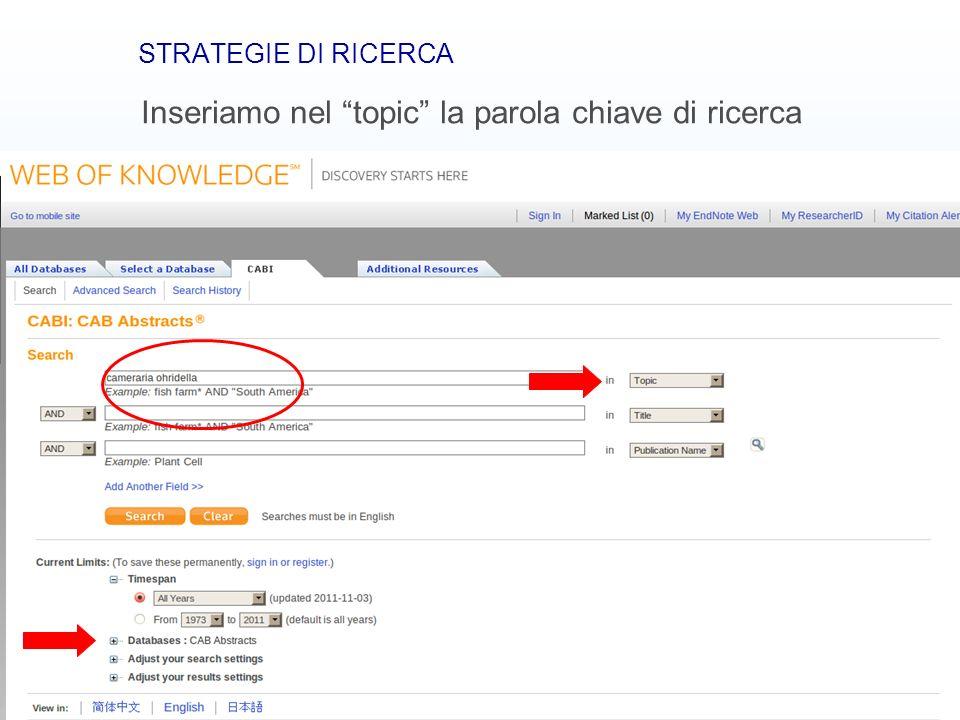 Banche dati bibliografiche12 STRATEGIE DI RICERCA Inseriamo nel topic la parola chiave di ricerca