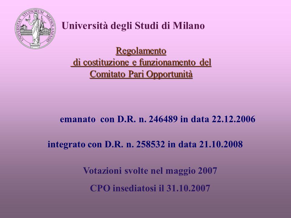 Regolamento di costituzione e funzionamento del Comitato Pari Opportunità Università degli Studi di Milano emanato con D.R.