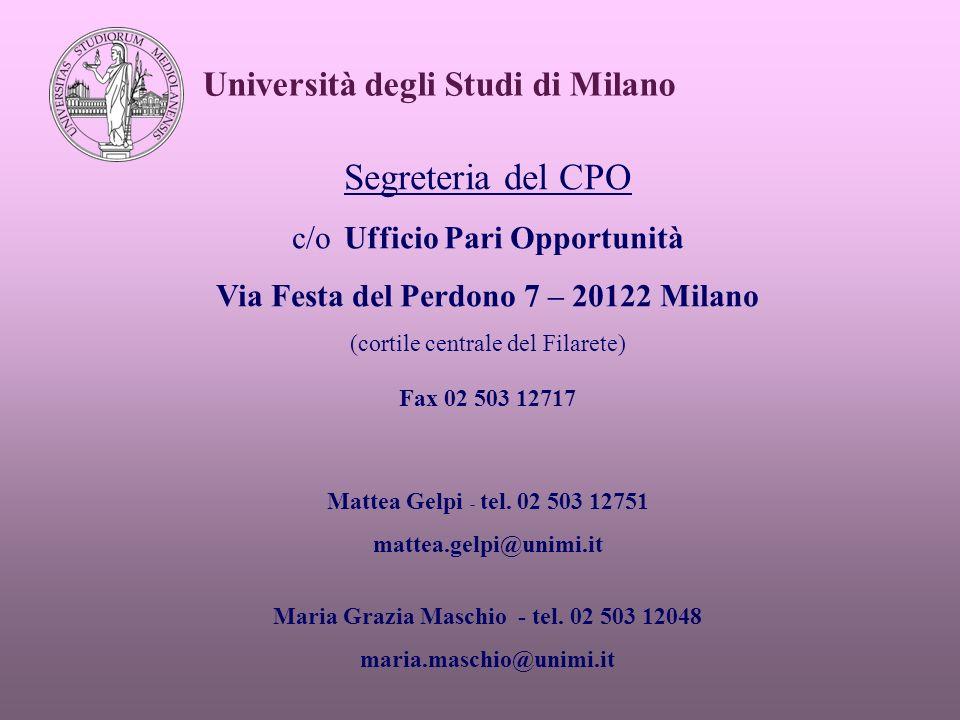 Università degli Studi di Milano Segreteria del CPO c/o Ufficio Pari Opportunità Via Festa del Perdono 7 – 20122 Milano (cortile centrale del Filarete) Fax 02 503 12717 Mattea Gelpi - tel.