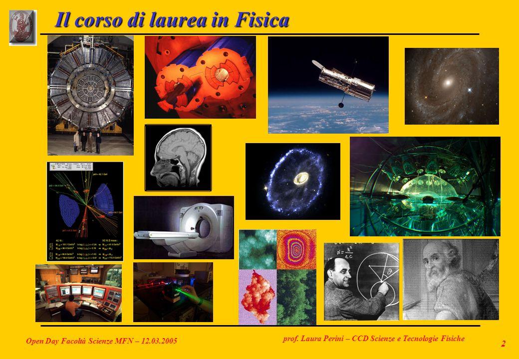 prof. Laura Perini – CCD Scienze e Tecnologie Fisiche Open Day Facoltà Scienze MFN – 12.03.2005 2 Il corso di laurea in Fisica