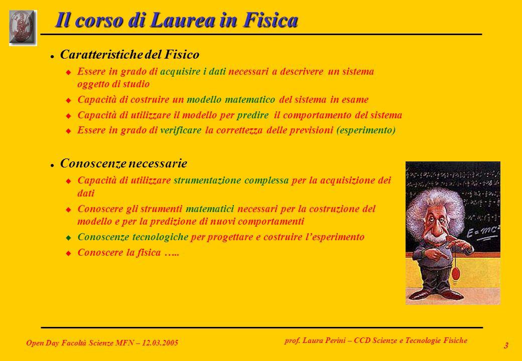 prof. Laura Perini – CCD Scienze e Tecnologie Fisiche Open Day Facoltà Scienze MFN – 12.03.2005 3 Il corso di Laurea in Fisica l Caratteristiche del F