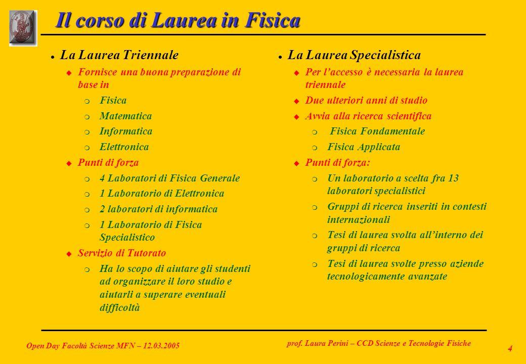 prof. Laura Perini – CCD Scienze e Tecnologie Fisiche Open Day Facoltà Scienze MFN – 12.03.2005 4 Il corso di Laurea in Fisica l La Laurea Triennale u