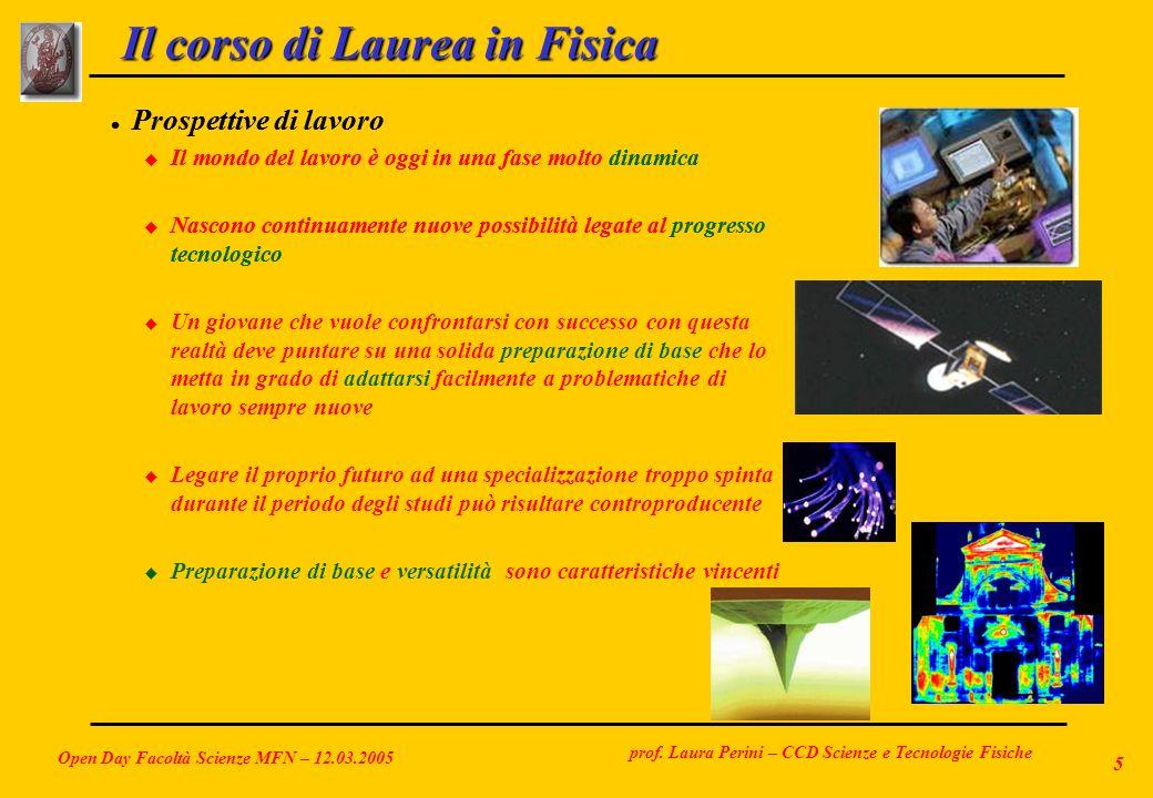 prof. Laura Perini – CCD Scienze e Tecnologie Fisiche Open Day Facoltà Scienze MFN – 12.03.2005 5 Il corso di Laurea in Fisica l Prospettive di lavoro