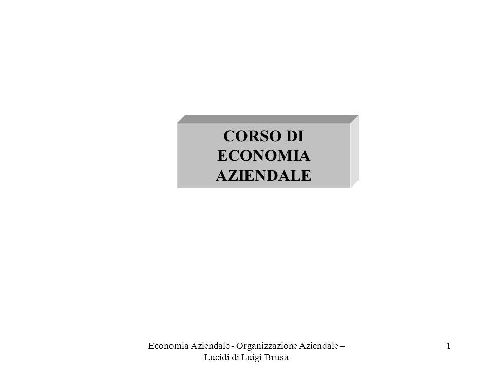 Economia Aziendale - Organizzazione Aziendale – Lucidi di Luigi Brusa 2 Generalità sull organizzazione aziendale