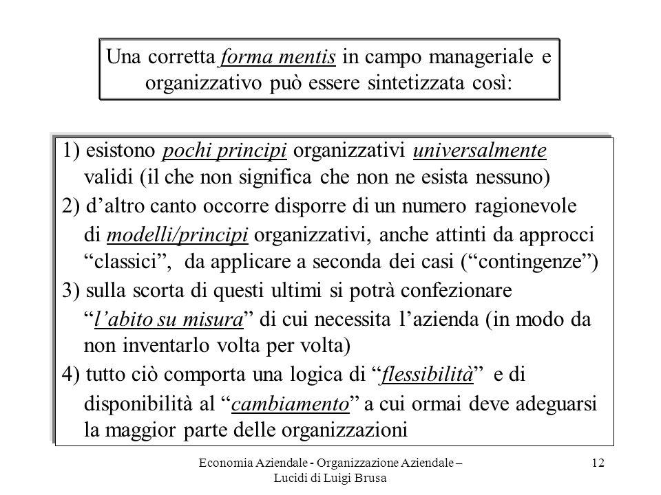 Economia Aziendale - Organizzazione Aziendale – Lucidi di Luigi Brusa 12 1) esistono pochi principi organizzativi universalmente validi (il che non si