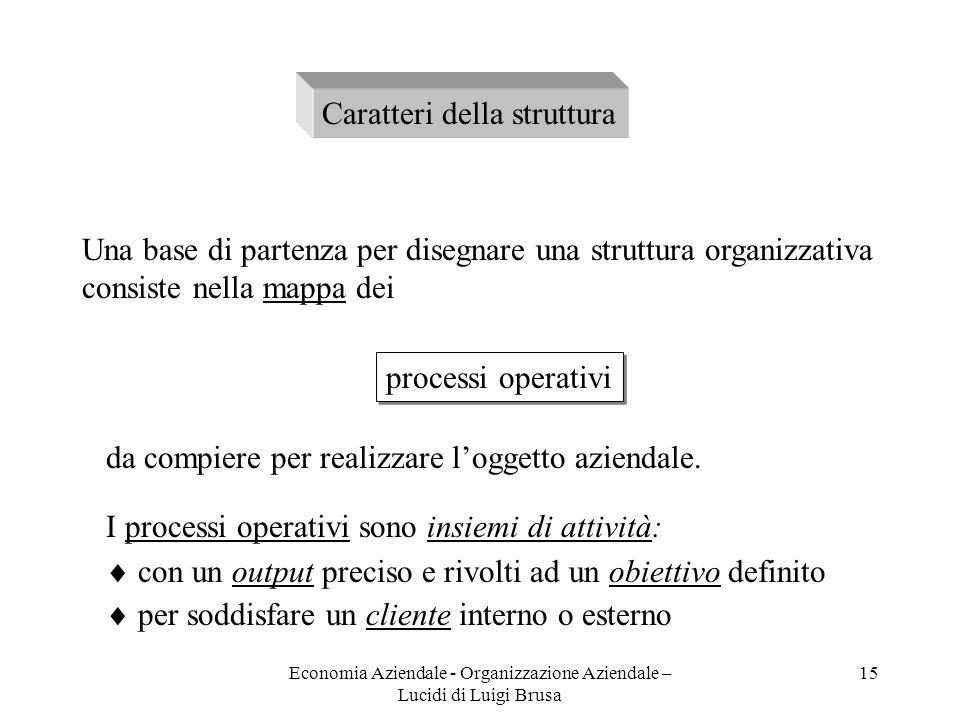 Economia Aziendale - Organizzazione Aziendale – Lucidi di Luigi Brusa 15 Caratteri della struttura Una base di partenza per disegnare una struttura or