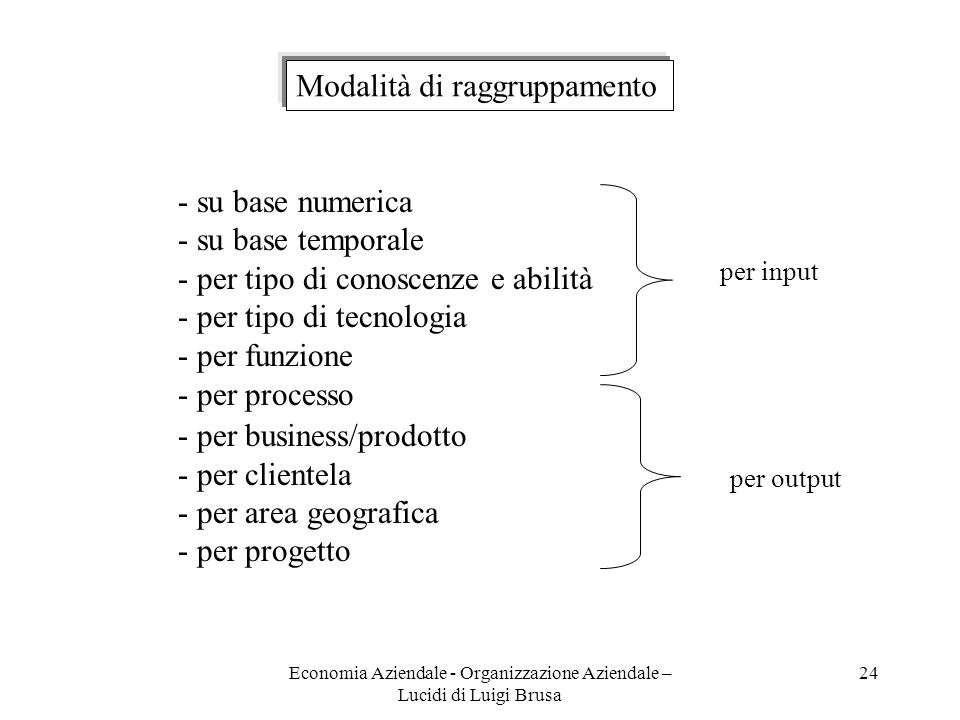 Economia Aziendale - Organizzazione Aziendale – Lucidi di Luigi Brusa 24 Modalità di raggruppamento - su base numerica - su base temporale - per tipo