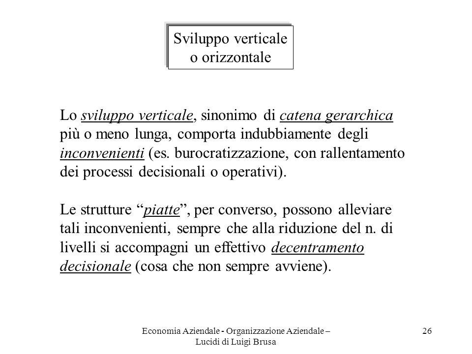 Economia Aziendale - Organizzazione Aziendale – Lucidi di Luigi Brusa 26 Sviluppo verticale o orizzontale Lo sviluppo verticale, sinonimo di catena ge