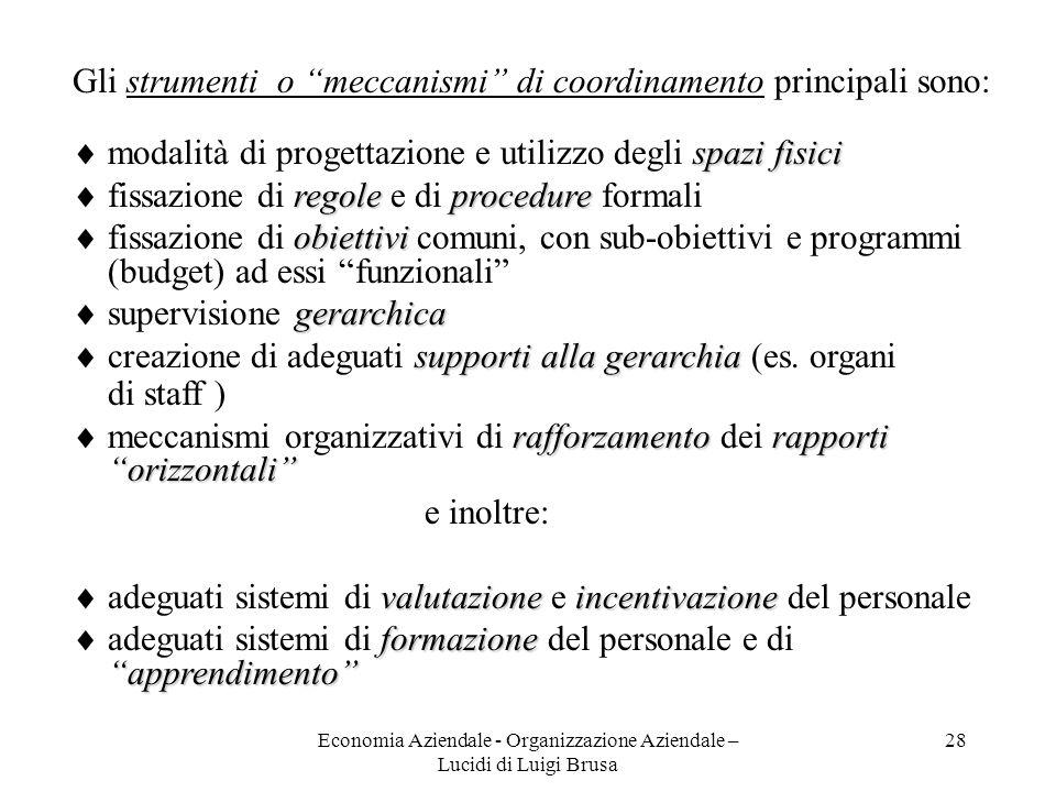 Economia Aziendale - Organizzazione Aziendale – Lucidi di Luigi Brusa 28 Gli strumenti o meccanismi di coordinamento principali sono: spazi fisici mod