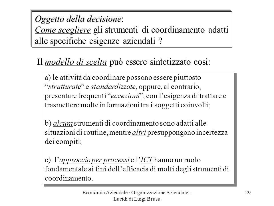 Economia Aziendale - Organizzazione Aziendale – Lucidi di Luigi Brusa 29 Il modello di scelta può essere sintetizzato così: a) le attività da coordina