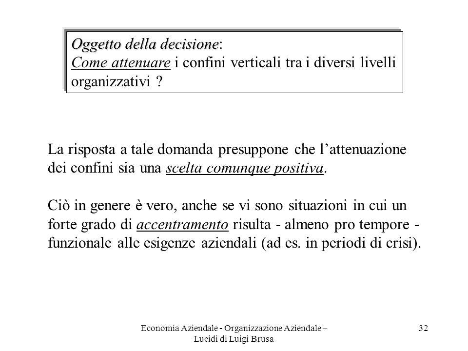 Economia Aziendale - Organizzazione Aziendale – Lucidi di Luigi Brusa 32 Oggetto della decisione Oggetto della decisione: Come attenuare i confini ver