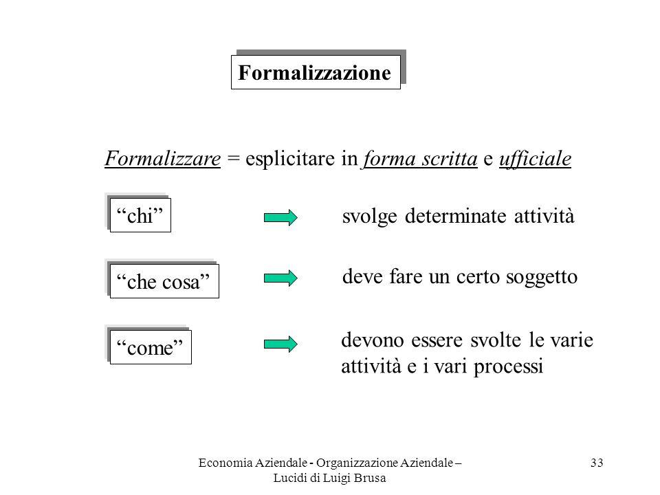 Economia Aziendale - Organizzazione Aziendale – Lucidi di Luigi Brusa 33 Formalizzazione Formalizzare = esplicitare in forma scritta e ufficiale chi c