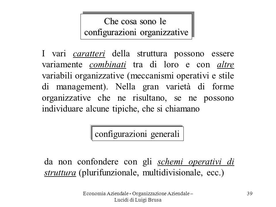 Economia Aziendale - Organizzazione Aziendale – Lucidi di Luigi Brusa 39 Che cosa sono le configurazioni organizzative Che cosa sono le configurazioni
