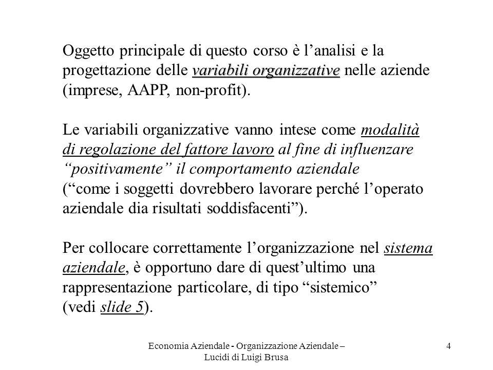 Economia Aziendale - Organizzazione Aziendale – Lucidi di Luigi Brusa 4 Oggetto principale di questo corso è lanalisi e la variabili organizzative pro