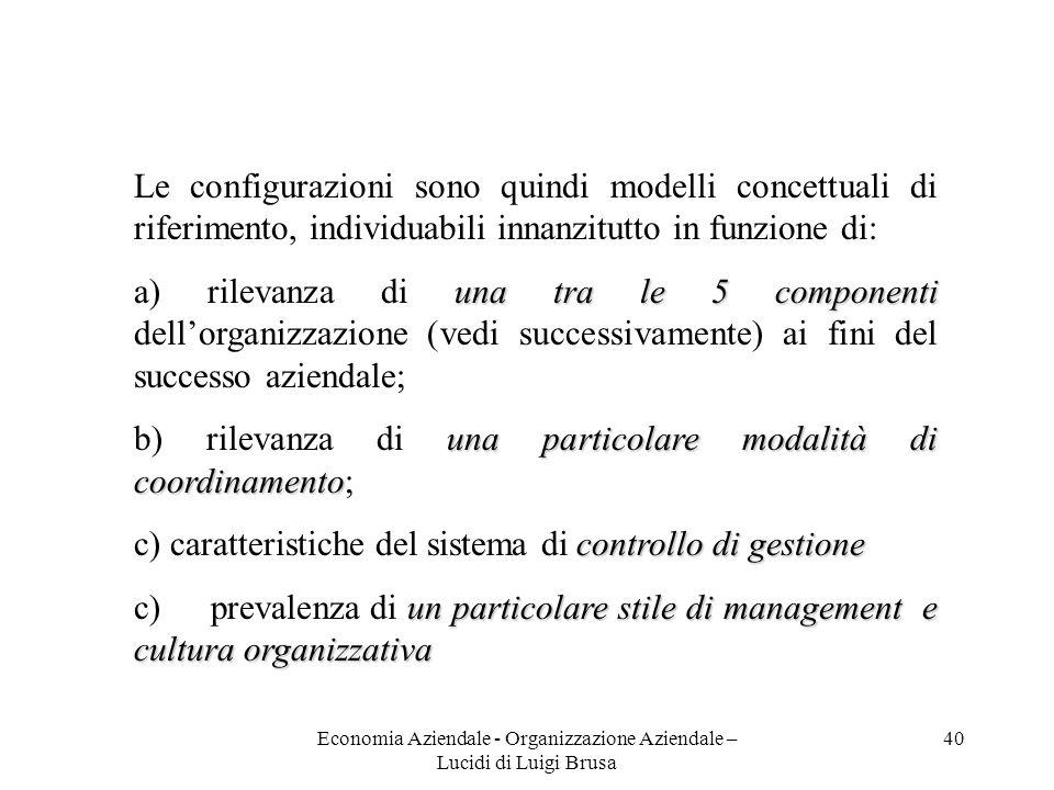 Economia Aziendale - Organizzazione Aziendale – Lucidi di Luigi Brusa 40 Le configurazioni sono quindi modelli concettuali di riferimento, individuabi