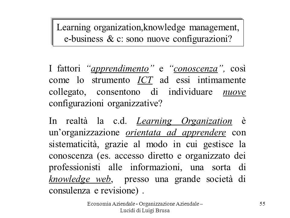 Economia Aziendale - Organizzazione Aziendale – Lucidi di Luigi Brusa 55 Learning organization,knowledge management, e-business & c: sono nuove config