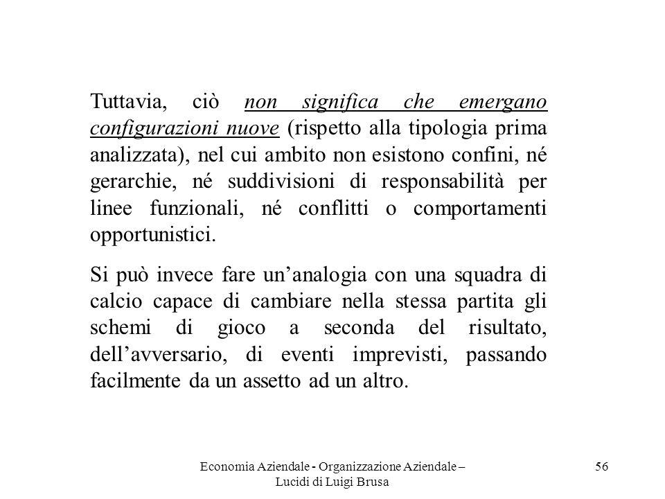 Economia Aziendale - Organizzazione Aziendale – Lucidi di Luigi Brusa 56 Tuttavia, ciò non significa che emergano configurazioni nuove (rispetto alla