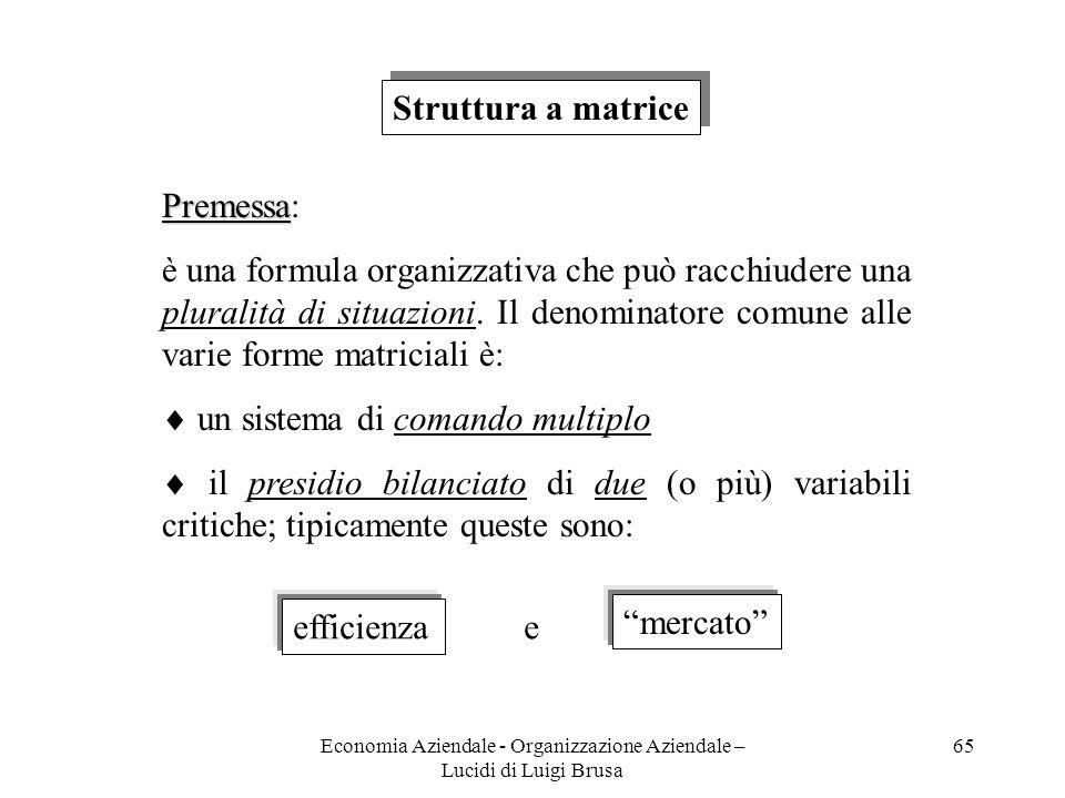 Economia Aziendale - Organizzazione Aziendale – Lucidi di Luigi Brusa 65 Struttura a matrice Premessa Premessa: è una formula organizzativa che può ra