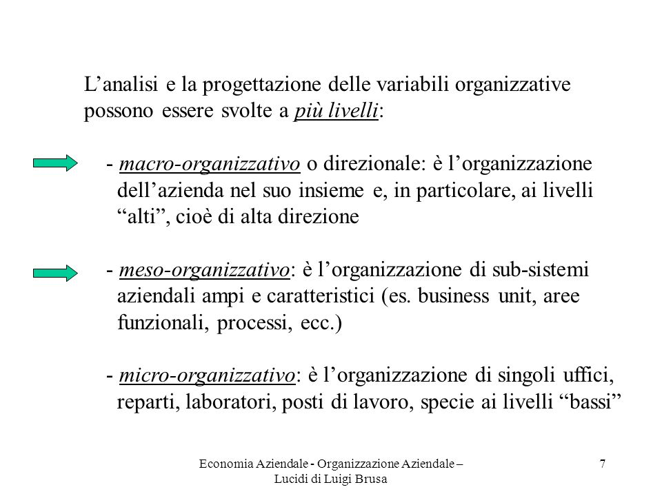 Economia Aziendale - Organizzazione Aziendale – Lucidi di Luigi Brusa 8 Un approccio moderno e - nello stesso tempo - consolidato allanalisi e alla progettazione organizzativa è quello Teorie e approcci organizzativi sistemico - contingency già schematizzato nella slide 5