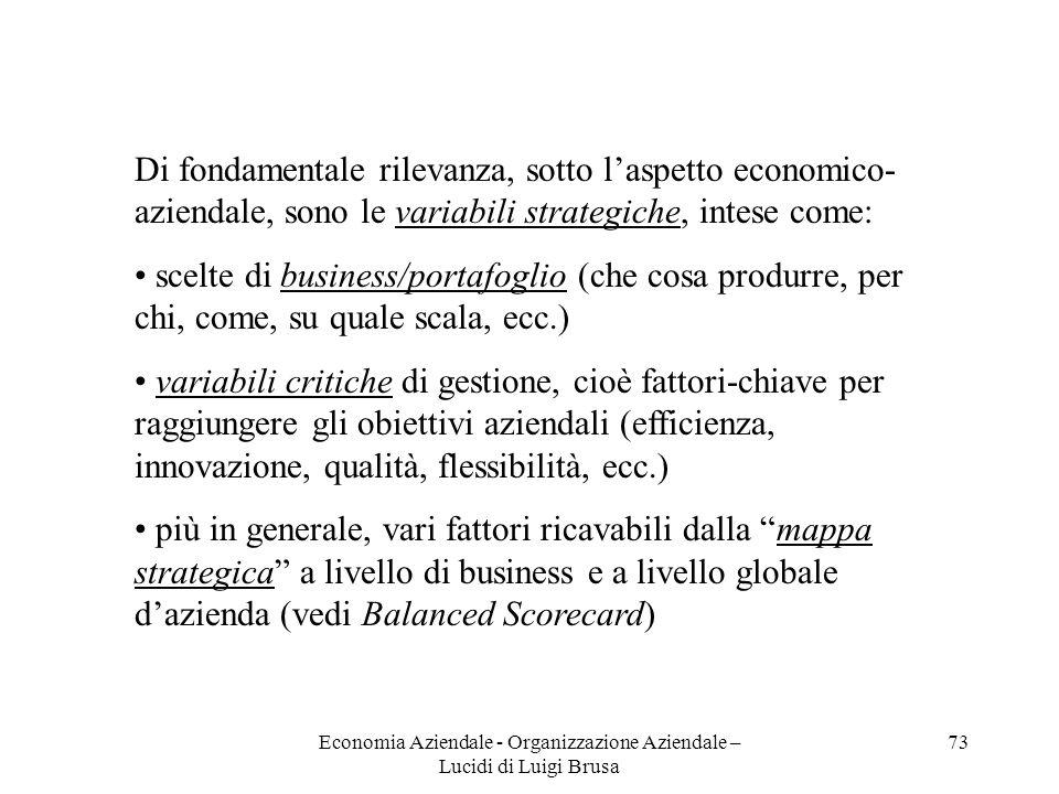Economia Aziendale - Organizzazione Aziendale – Lucidi di Luigi Brusa 73 Di fondamentale rilevanza, sotto laspetto economico- aziendale, sono le varia