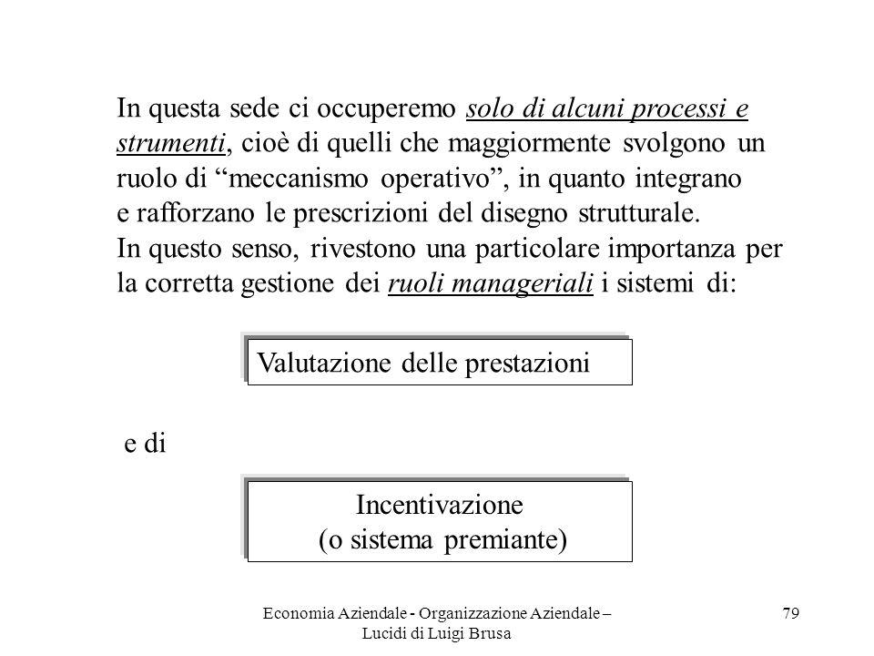 Economia Aziendale - Organizzazione Aziendale – Lucidi di Luigi Brusa 79 In questa sede ci occuperemo solo di alcuni processi e strumenti, cioè di que