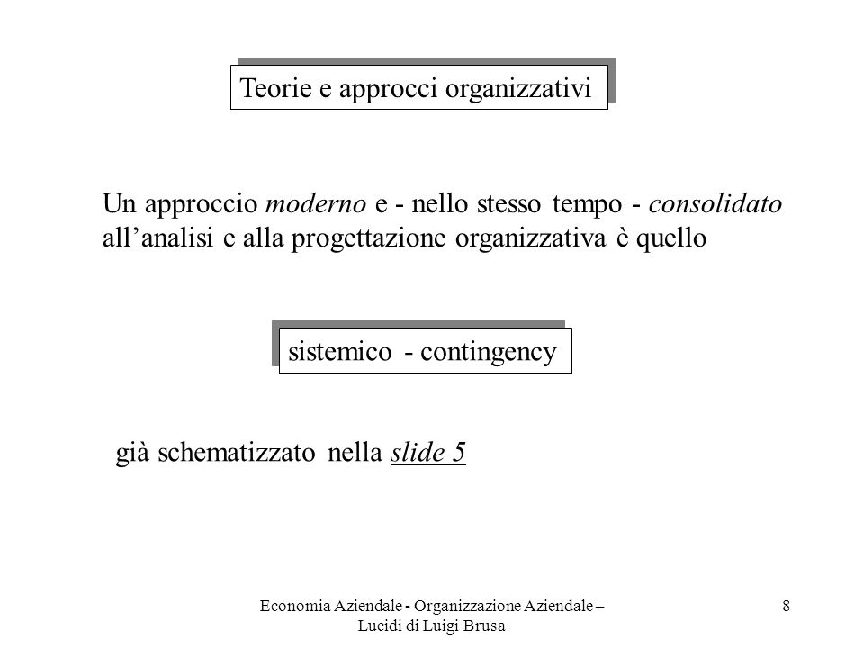 Economia Aziendale - Organizzazione Aziendale – Lucidi di Luigi Brusa 19 SPECIALIZZAZIONE Numero e complessità delle attività di ogni posizione di lavoro RAGGRUPPAMENTO Come costruire le unità organizzative COORDINAMENTO Come integrare le varie attività e i vari organi DECENTRAMENTO Come distribuire il potere decisionale FORMALIZZAZIONE Quanto e come esplicitare le regole organizzative DIMENSIONAMENTO ORGANICI Quante persone deve avere ogni u.o.