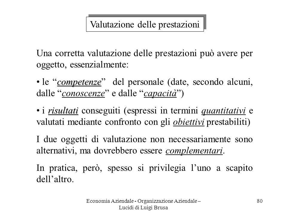 Economia Aziendale - Organizzazione Aziendale – Lucidi di Luigi Brusa 80 Valutazione delle prestazioni Una corretta valutazione delle prestazioni può