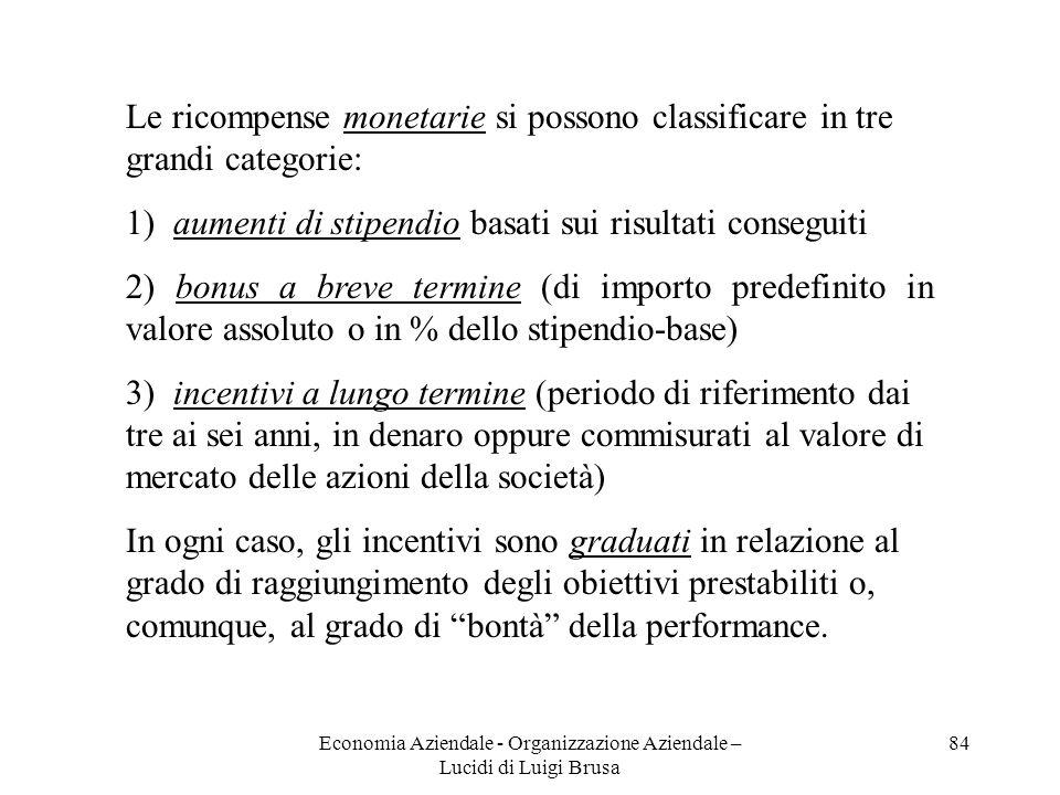 Economia Aziendale - Organizzazione Aziendale – Lucidi di Luigi Brusa 84 Le ricompense monetarie si possono classificare in tre grandi categorie: 1) a