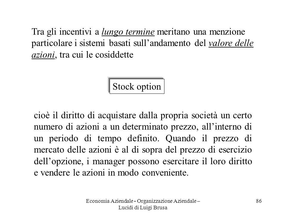 Economia Aziendale - Organizzazione Aziendale – Lucidi di Luigi Brusa 86 Tra gli incentivi a lungo termine meritano una menzione particolare i sistemi