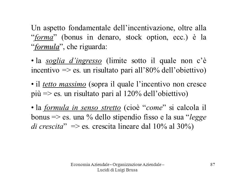 Economia Aziendale - Organizzazione Aziendale – Lucidi di Luigi Brusa 87 formula Un aspetto fondamentale dellincentivazione, oltre allaforma (bonus in
