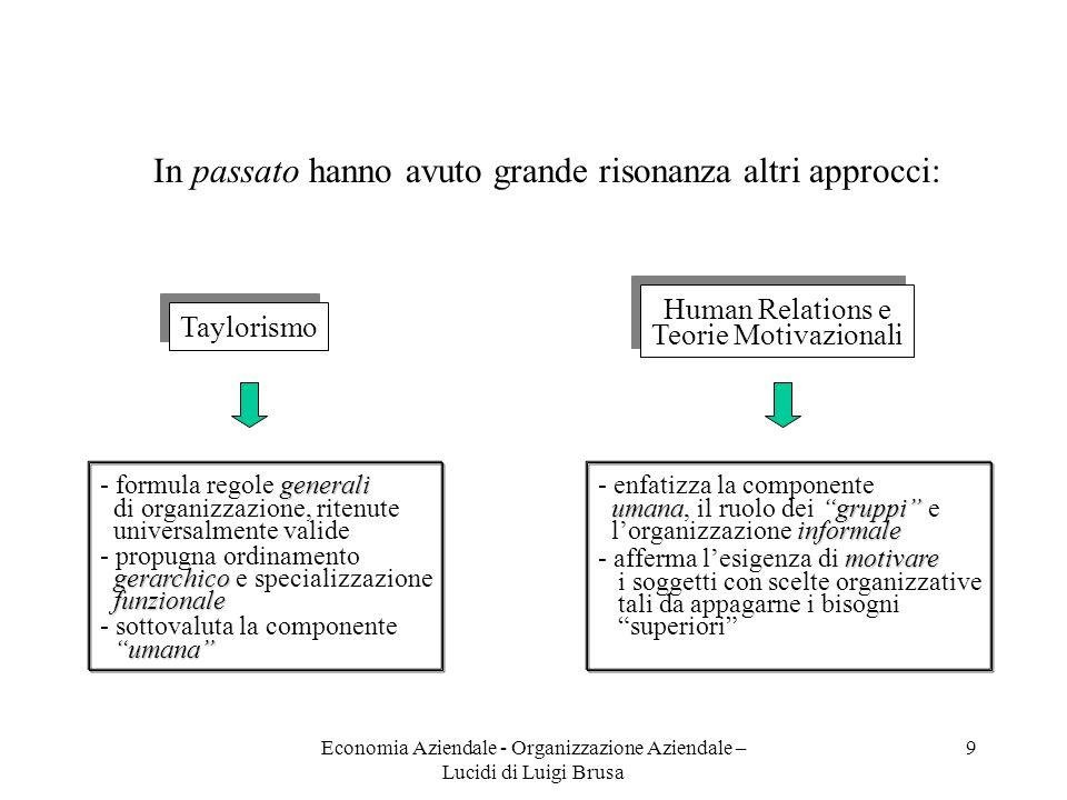 Economia Aziendale - Organizzazione Aziendale – Lucidi di Luigi Brusa 9 Taylorismo generali - formula regole generali di organizzazione, ritenute univ