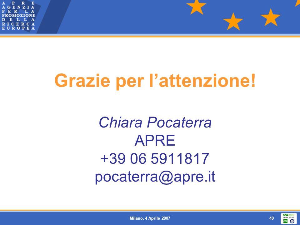 Milano, 4 Aprile 200740 Grazie per lattenzione! Chiara Pocaterra APRE +39 06 5911817 pocaterra@apre.it