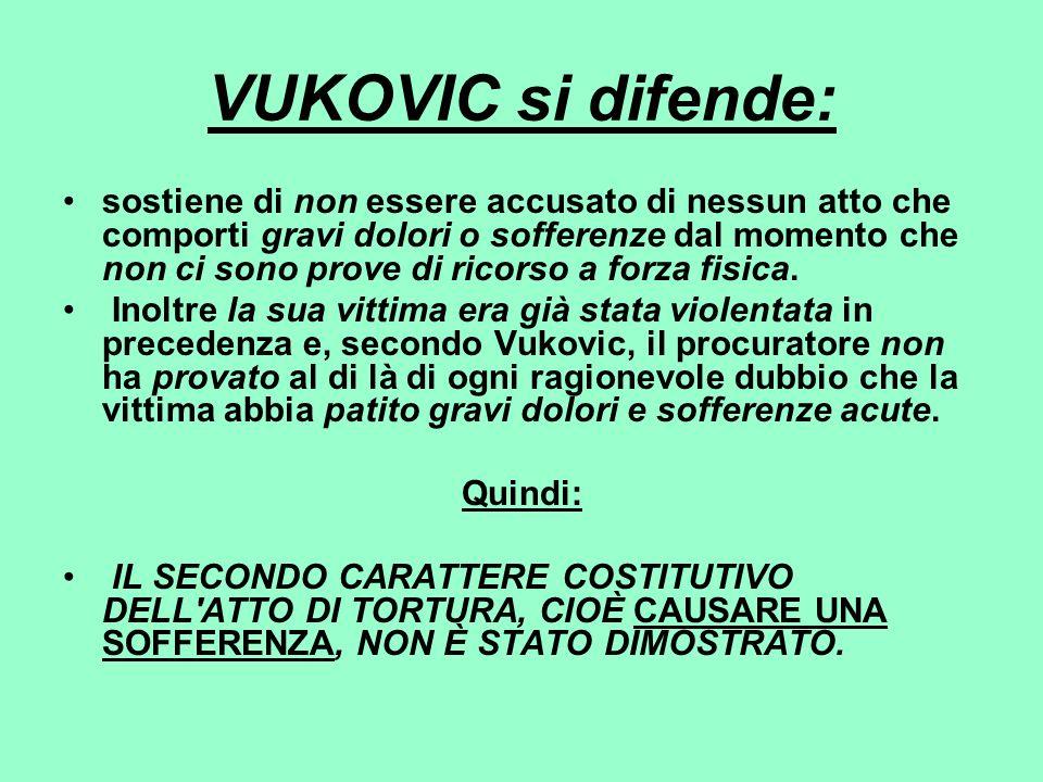 VUKOVIC si difende: sostiene di non essere accusato di nessun atto che comporti gravi dolori o sofferenze dal momento che non ci sono prove di ricorso
