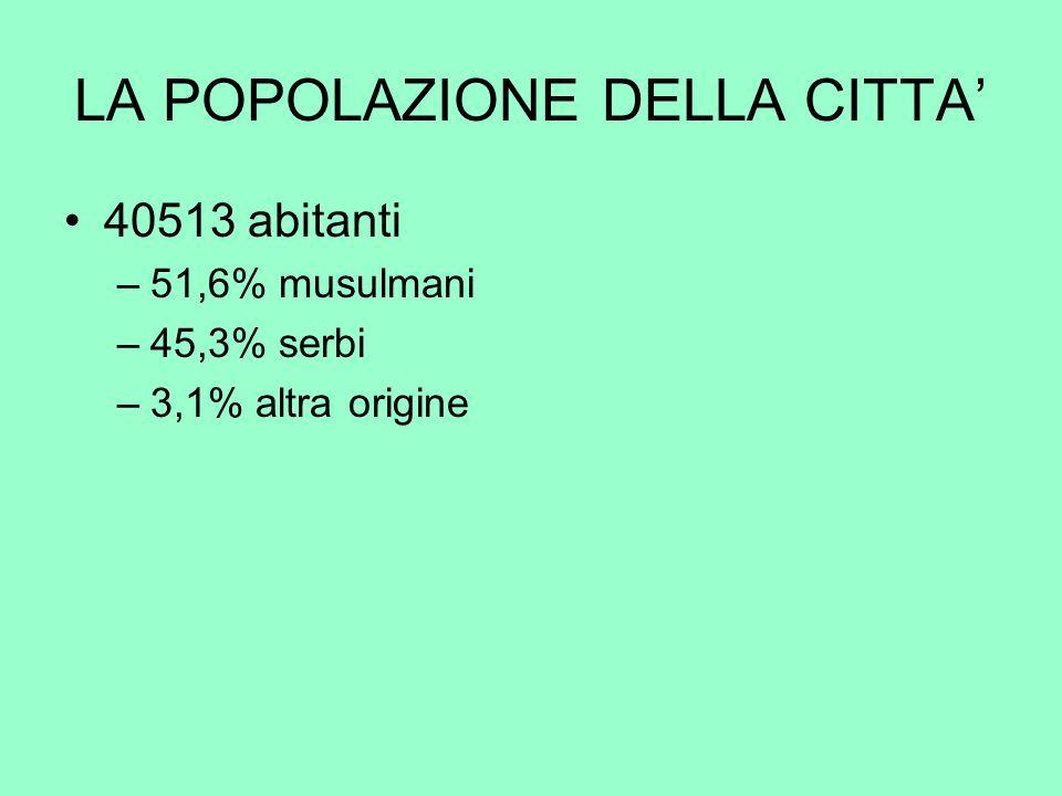 LA POPOLAZIONE DELLA CITTA 40513 abitanti –51,6% musulmani –45,3% serbi –3,1% altra origine