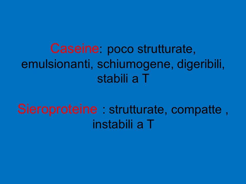 Caseine : poco strutturate, emulsionanti, schiumogene, digeribili, stabili a T Sieroproteine : strutturate, compatte, instabili a T