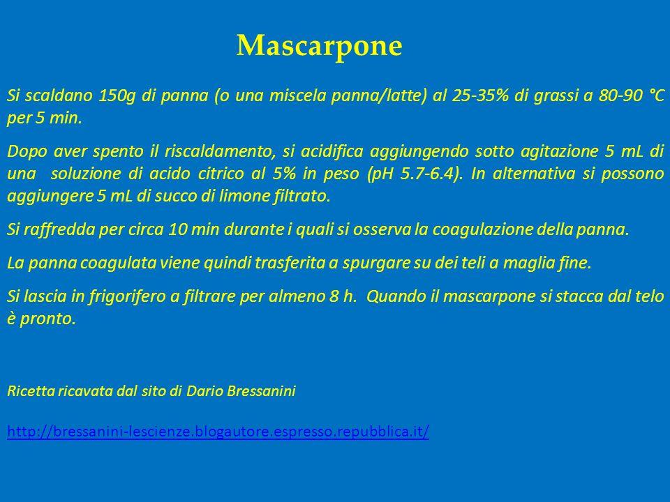 Mascarpone Si scaldano 150g di panna (o una miscela panna/latte) al 25-35% di grassi a 80-90 °C per 5 min. Dopo aver spento il riscaldamento, si acidi