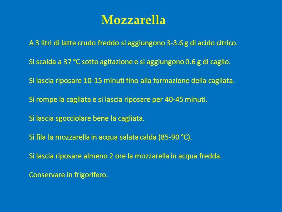 Mozzarella A 3 litri di latte crudo freddo si aggiungono 3-3.6 g di acido citrico. Si scalda a 37 °C sotto agitazione e si aggiungono 0.6 g di caglio.