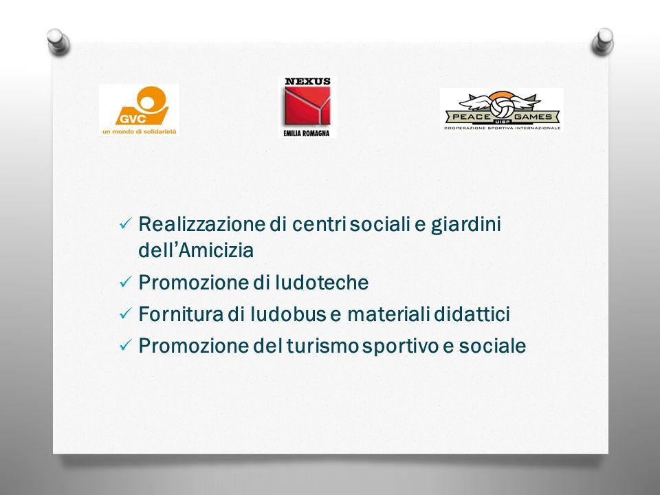 Realizzazione di centri sociali e giardini dellAmicizia Promozione di ludoteche Fornitura di ludobus e materiali didattici Promozione del turismo sportivo e sociale