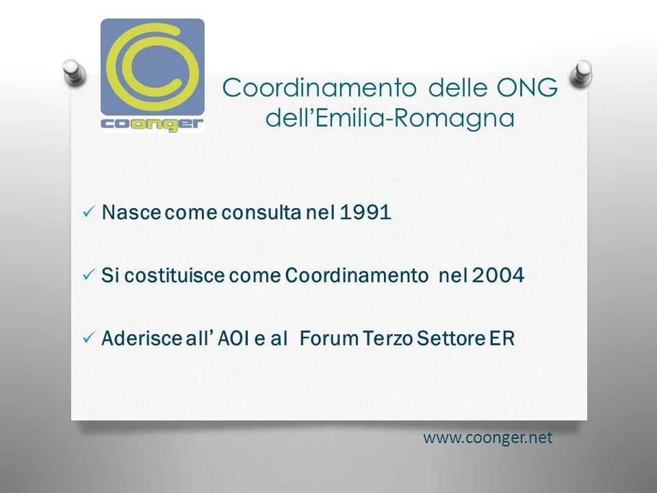 Coordinamento delle ONG dellEmilia-Romagna Nasce come consulta nel 1991 Si costituisce come Coordinamento nel 2004 Aderisce all AOI e al Forum Terzo Settore ER www.coonger.net