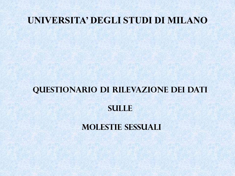 UNIVERSITA DEGLI STUDI DI MILANO QUESTIONARIO DI RILEVAZIONE dei dati sulle MOLESTIE SESSUALI