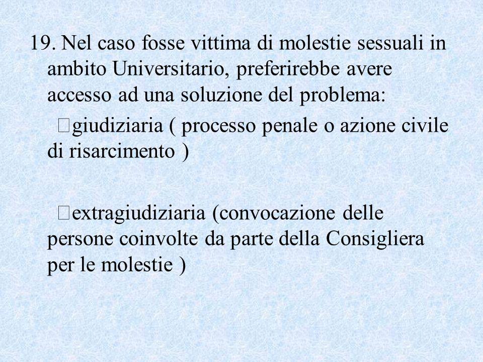 19. Nel caso fosse vittima di molestie sessuali in ambito Universitario, preferirebbe avere accesso ad una soluzione del problema: giudiziaria ( proce