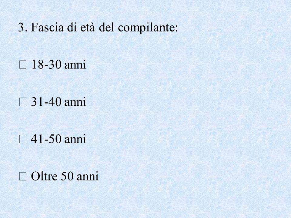 3. Fascia di età del compilante: 18-30 anni 31-40 anni 41-50 anni Oltre 50 anni