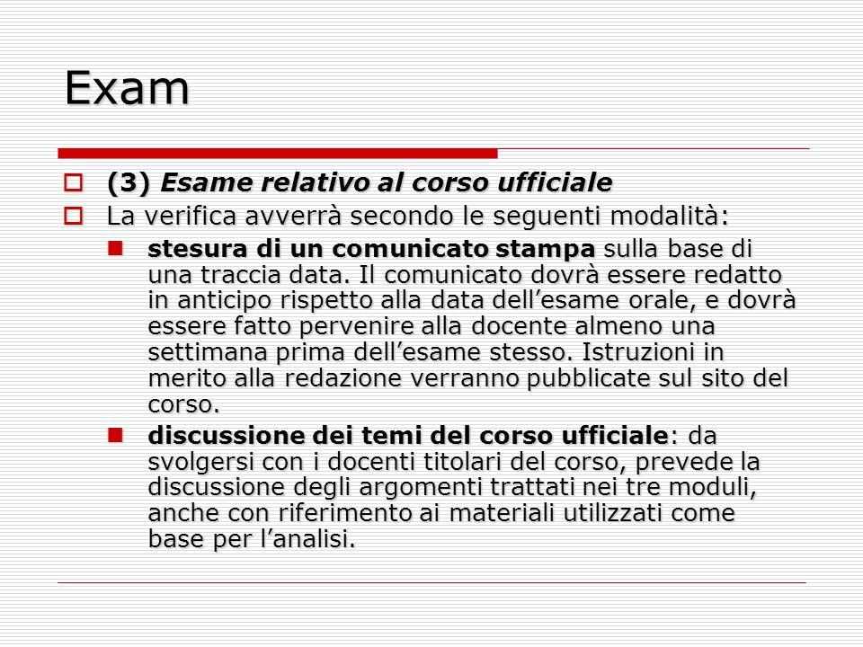 Exam (3) Esame relativo al corso ufficiale (3) Esame relativo al corso ufficiale La verifica avverrà secondo le seguenti modalità: La verifica avverrà
